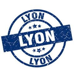 Lyon blue round grunge stamp vector