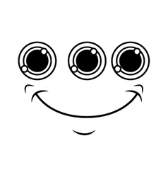monster face emoticon icon vector image