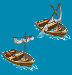 Old boat with sailboat on water in cartoon style vector