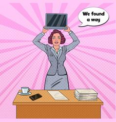 Pop art happy business woman holding laptop vector