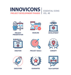 Project development phases - modern line vector