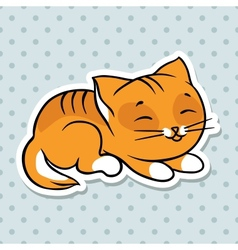 Red cute funny cat sleep vector