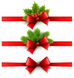 Red holiday ribbon with bow holly and pine vector