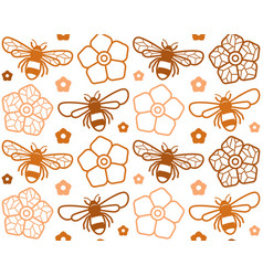 seamless pattern with image of honey bee vector image