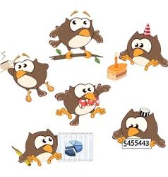 Set of cute owls for you design Cartoon vector image
