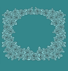 Vintage frame with garden roses on light mint vector