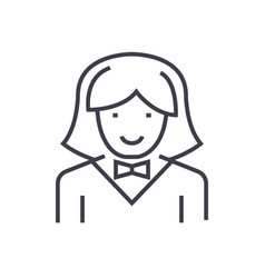 waitress woman line icon sign vector image vector image