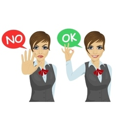 Working woman says ok and no vector