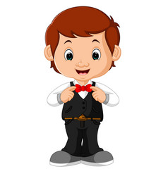 young handsome waiter standing vector image vector image