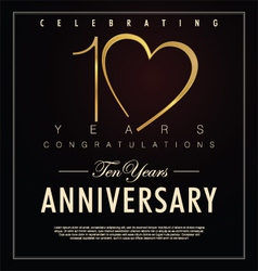 10 years anniversary black background vector