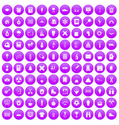 100 school years icons set purple vector