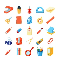 Colorful stationery icons set vector
