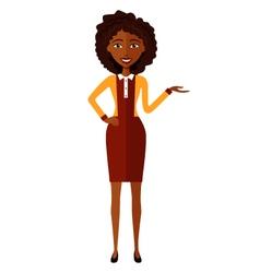 African woman presents something cartoon vector image