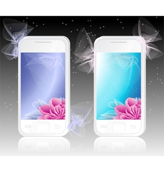 Two white mobile phones with flowers background vector