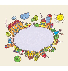 Frame for kids with town and children vector image