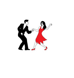 Dancers in white red and black vector
