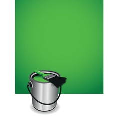 Green paint pot background vector