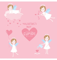 Valentines Day Set - Cupid Angels with Hearts vector image