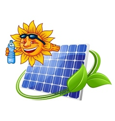 Solar panel with sun in cartoon style vector