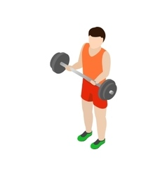 Man holding barbell icon isometric 3d style vector