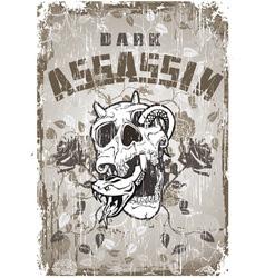 Skull and assassin vector