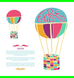 Air ballon hand drawn vector