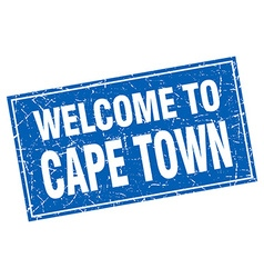Cape town blue square grunge welcome to stamp vector