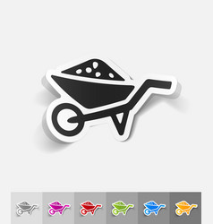 Realistic design element garden wheelbarrow vector