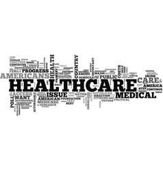 A healthcare agenda for america text word cloud vector