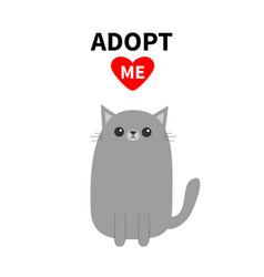 adopt me dont buy red heart gray cat kitten vector image