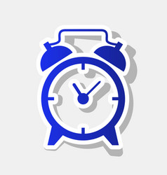 Alarm clock sign new year bluish icon vector
