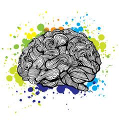 brain bright idea doodle vector image