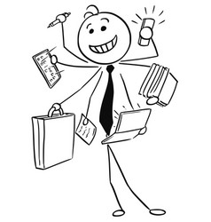 Cartoon of smiling businessman working on many vector