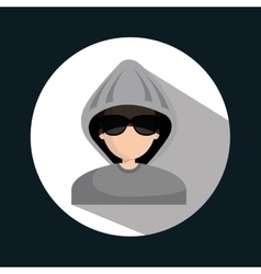 Character hacker informatic design vector