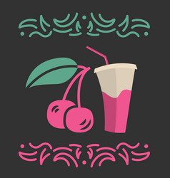 Cherry juice banner or menu vector