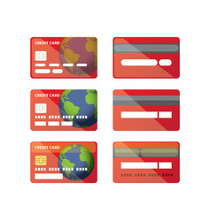 Credit card icon set isolated vector