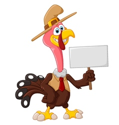 Cute turkey cartoon holding blank sign vector image