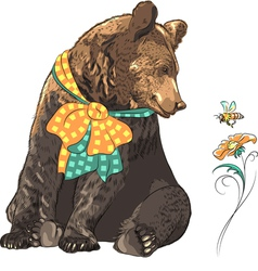 Funny cartoon hipster bear with bee vector