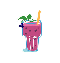 Glass of fresh healthy blackberry smoothie vector