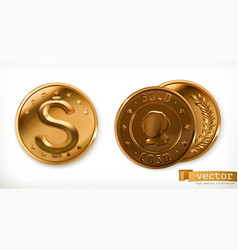 golden coins money 3d icons vector image vector image