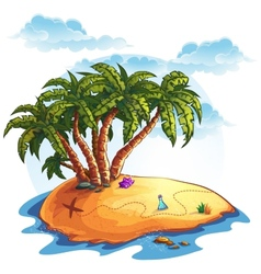 island with palm trees and treasures vector image vector image