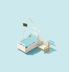 isometric low poly hospital bed vector image