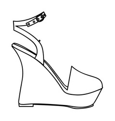 Monochrome silhouette of sandal shoe with platform vector