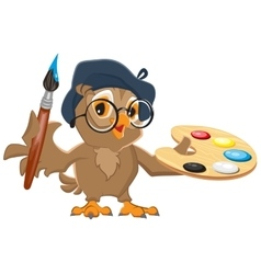 Owl artist holding brush and palette vector