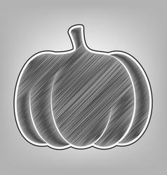 pumpkin sign pencil sketch imitation vector image