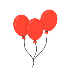 red balloon icon with rope vector image vector image