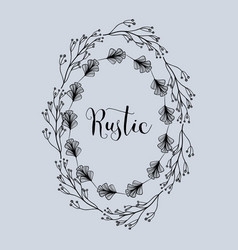 Rustic emblem decoration with branches and flowers vector