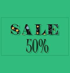 Sale fifty percents black floral font vector