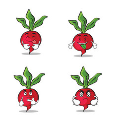 set radish character cartoon style collection vector image