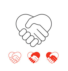 Shaking hands icons collection isolated on white vector